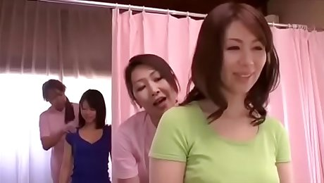 Japanese female physiotherapist fondle my pussy , first tasted lesbian